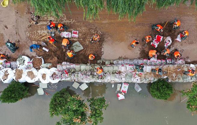 筑牢堤坝!直击汾河山西河津段泄洪抢险现场